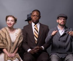 (l to r) Brittany Watson as Mary Dalton, Micah Jondel DeShazer as Bigger Thomas, and Jason Hammond as Jan. Alan Johnson in background as The Black Rat.